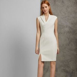 Ted Baker Geodese Faux Wrap Pencil Dress White L